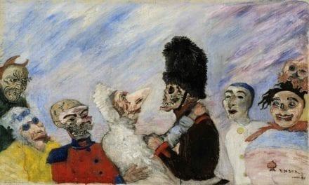 Une toile d'Ensor démasquée:  «Squelette arrêtant masques»