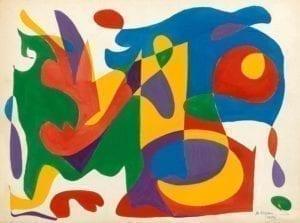 Michèle Morgan Composition 1986 huile sur toile