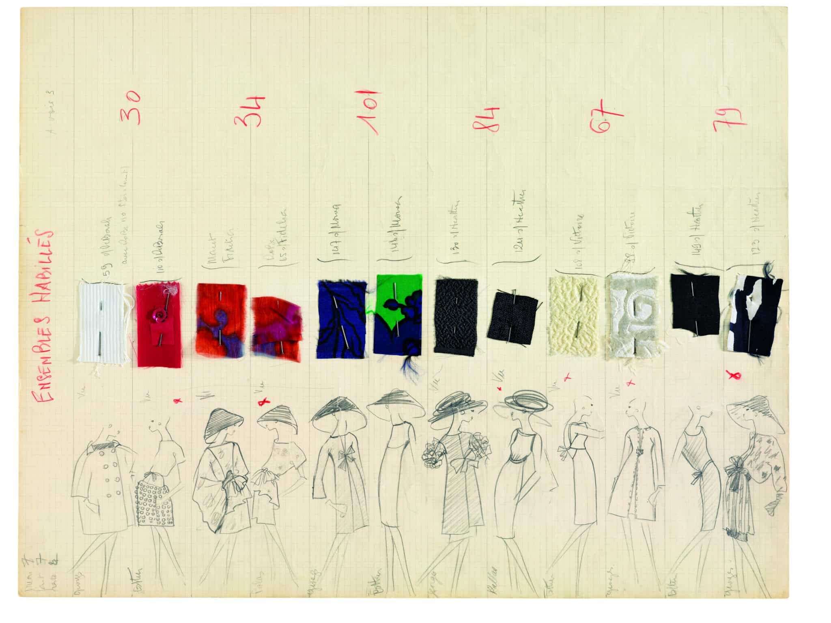Planche de dessin collection printemps été 1962