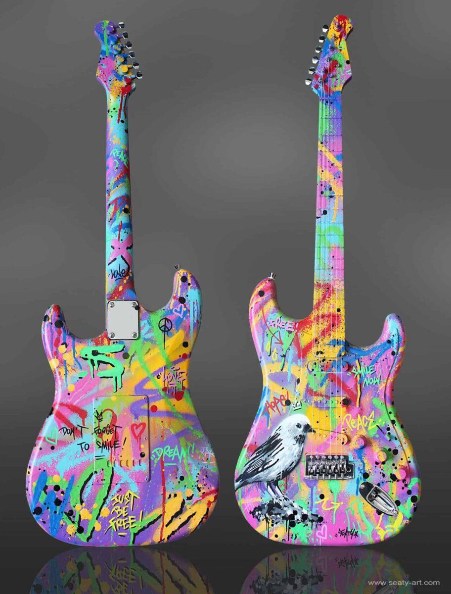 Guitare customisé Seaty aux enchères pour les victimes du Bataclan