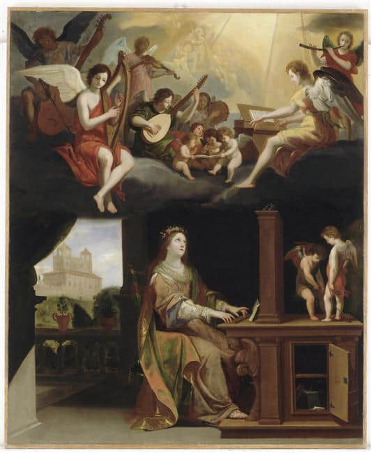 Sainte Cécile, Jacques Stella, 1626. Huile sur toile. Rennes, musée des Beaux-Arts. Photo : MBA, Rennes, dist. RMN / Grand Palais /Adélaïde Beaudoin