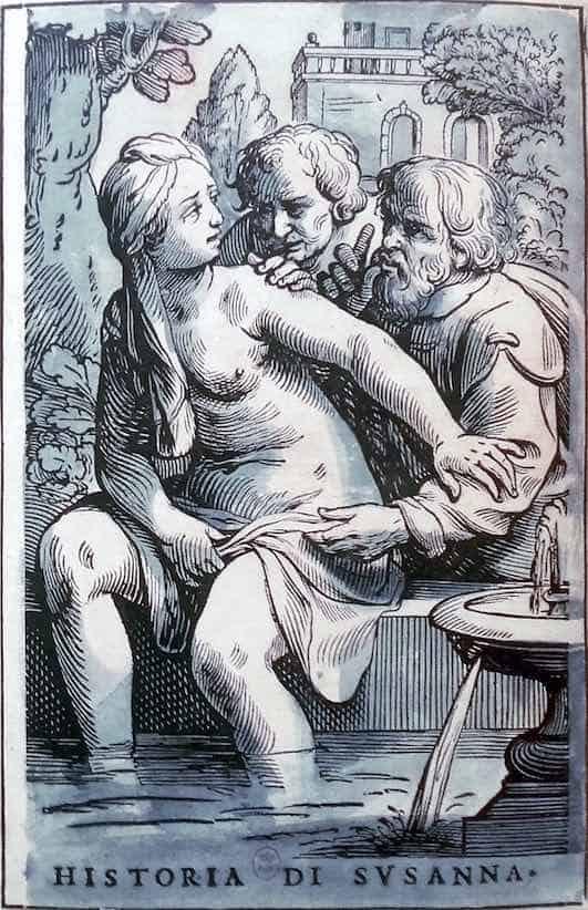 Suzanne et les vieillards, Camaïeux romains, Jacques Stella, 1622-1632. Exemplaire BNF avec lettre et cadre, sur papier blanc complété de lavis bleu : HISTORIA DI SVSANNA. Env. 30 x 20 cm.
