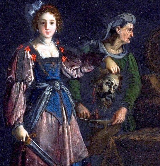 Judith et Holopherne (détail), Jacques Stella, 1625-1630.Huile et or sur ardoise, 15 x 26 cm. Localisation actuelle inconnue.