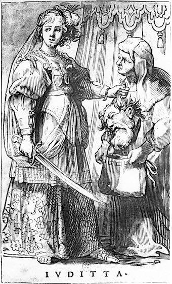 Judith, Camaïeux romains, Jacques Stella. 1622-1632. Exemplaire BNF avec lettre et cadre, sur papier blanc : IVDITTA. Env. 30 x 20 cm.