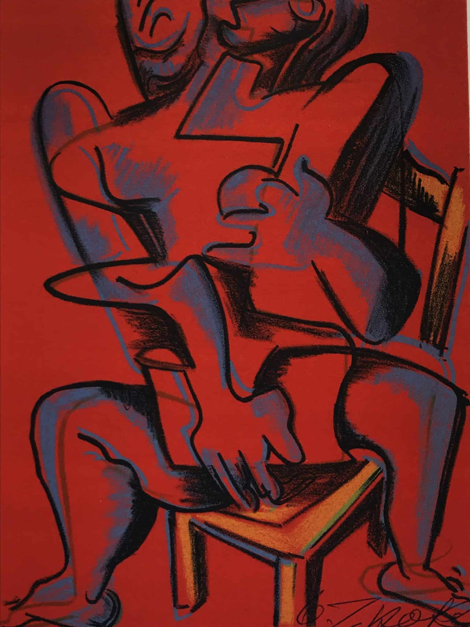 Lithograph Zadkine Works Hercules Red