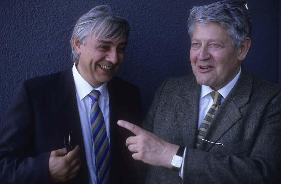 Milo Manara et Hugo Pratt en 1990 à Venise