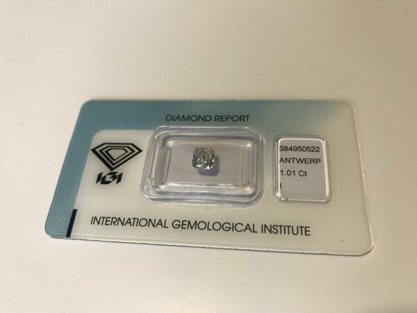 Beau diamant - 1.01 carat - papier et certificat