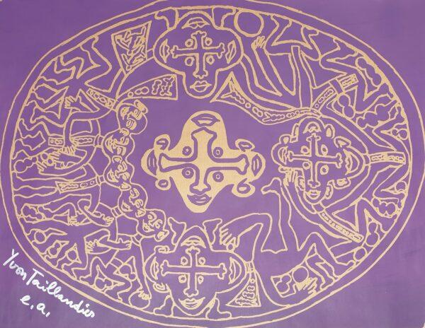 Yvon TAILLANDIER- Tribal violet, 2018 - Sérigraphie signée