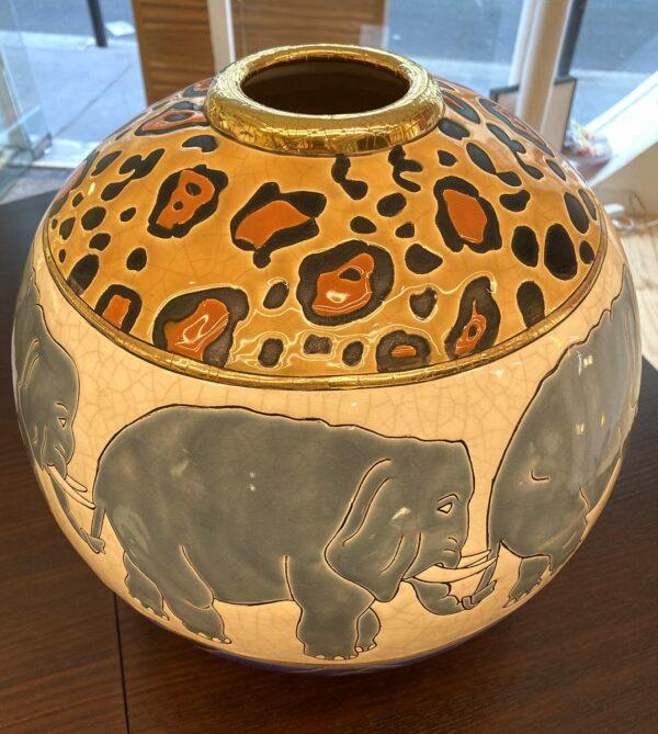 Longwy - Vase Boule Kenya, circa 1995