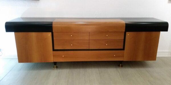 Pierre CARDIN - Buffet vintage en bois lacqué noir et teck - circa 1980