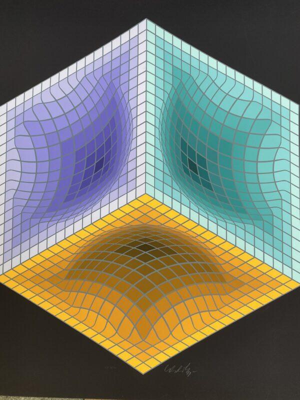 Victor Vasarely - Structure géométrique black