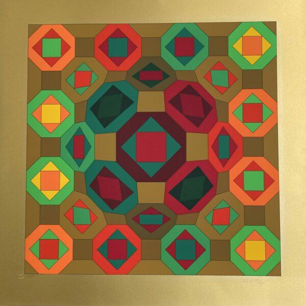 Victor Vasarely - Structure géométrique gold
