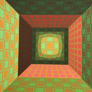 Victor Vasarely - Structure géométrique vert/orange