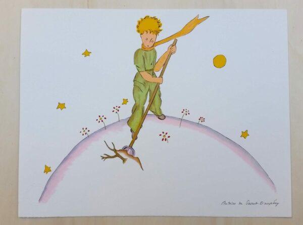Antoine Saint Exupéry (d'après) - Le Petit Prince sur son volcan - Lithographie