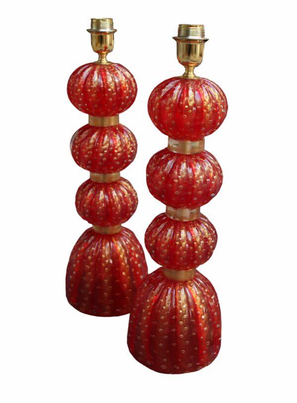 Paire de lampes rouge 3 boules- 1960 - Murano