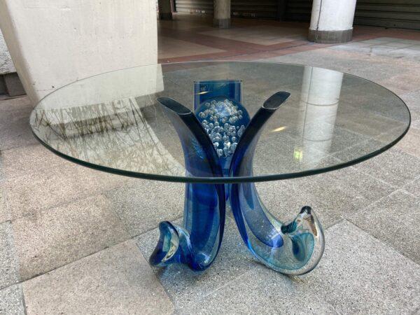Table basse en verre de murano bleu