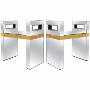 Travail Italien - Paire de bancs en miroir