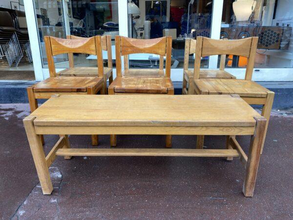 lmari Tapiovaara - Suite de 6 chaises et un banc -Modèle Hongisto