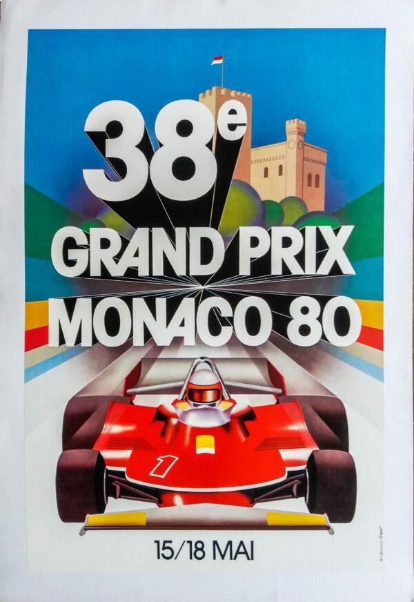 """Affiche d'époque """"38ème Grand Prix Monaco"""""""