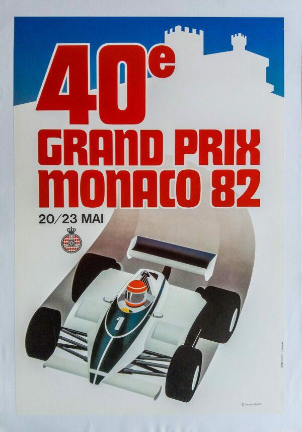 """Affiche d'époque """"40ème Grand Prix Monaco"""""""