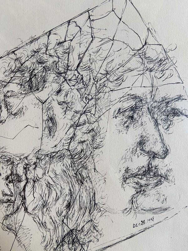 Composition avec visages - Chaim Gross - 1942