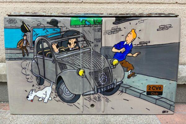 Malle arrière de 2CV- Tintin - Vinc