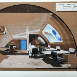 Raymond LOEWY - Pastel ''Module orbital de la base spatiale